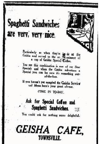 Spaghetti sandwich ad 1917