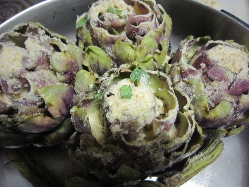 Five artichokes in the pan