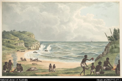 Painting of Aborigines eating and cooking