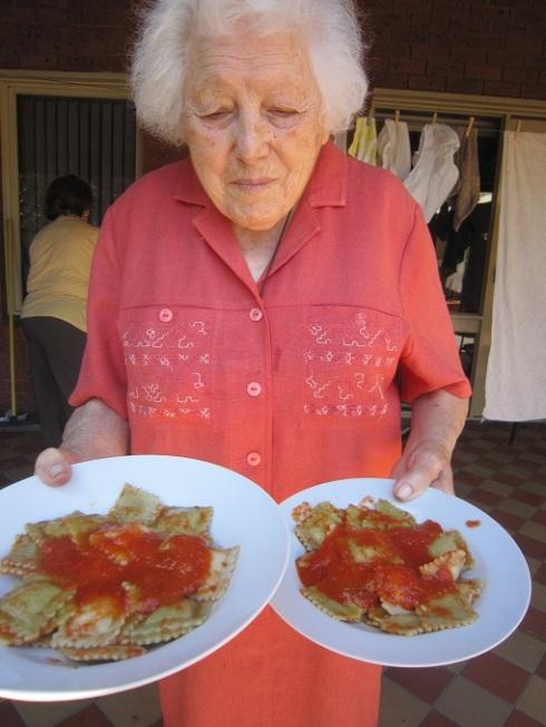 Nonna with ravioli