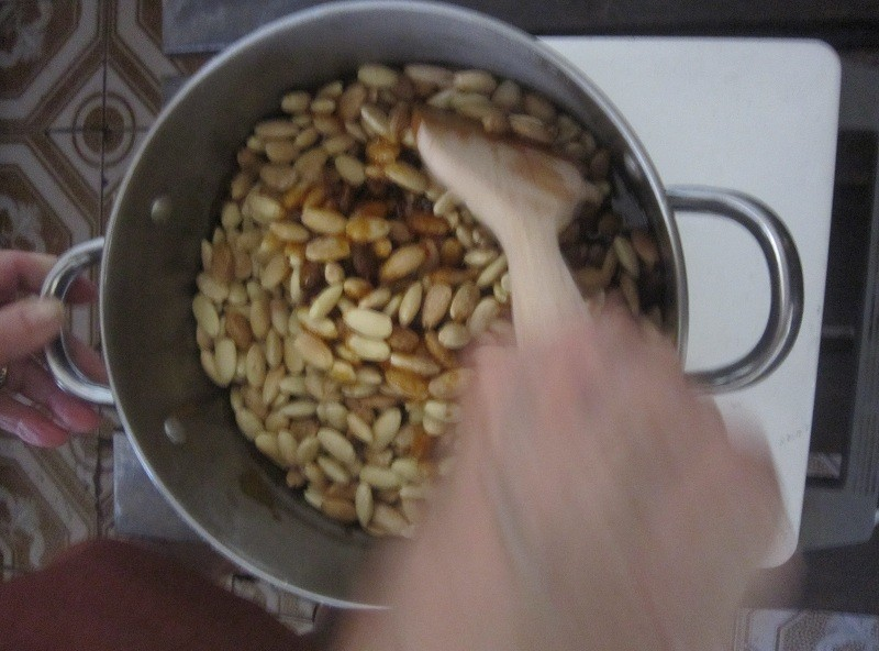 Almonds mixed in