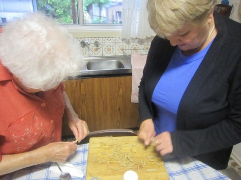 Nonna and mum re-rolling Vegemite pasta