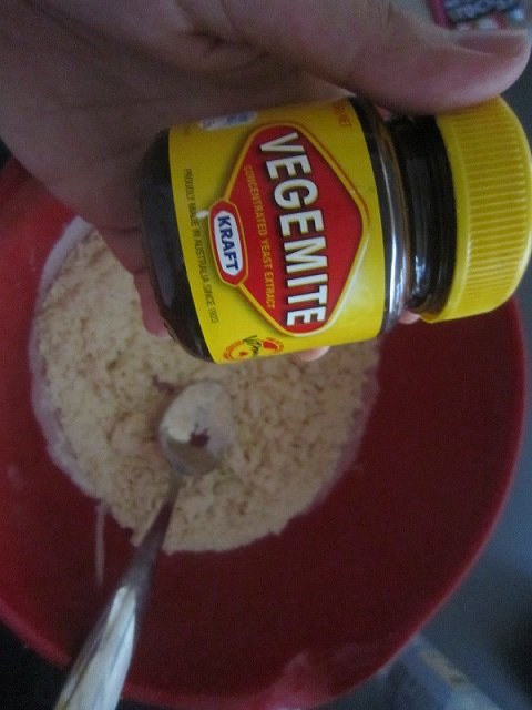 Vegemite ready to go in dough