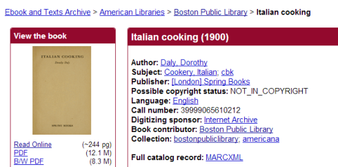Italian Cooking entry on the Internet Archive